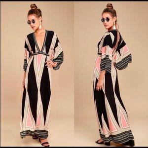 Lulu's Montecito Geometric Black Print Maxi Dress